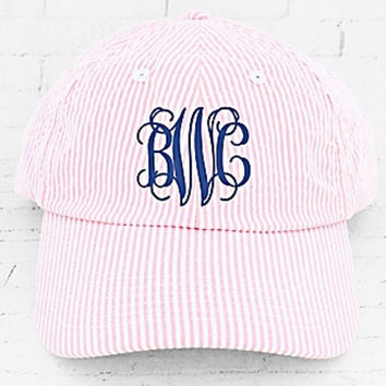 Monogrammed Pink Seersucker Baseball Cap with bow in the back