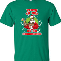 Time to Get Ho Ho Hammered Christmas beer cheers Funny T-shirt tshirt tee shirt Mens Ladies Womens Santa Merry Christmas Xmas DT-640