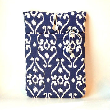 iPad Air 2 Case, all iPad models 4 3 2 1 Padded Tablet Sleeve, Navy blue iKat Laptop Cover Gadget Bag, Damask Fabric Mens Womens Unisex Sac