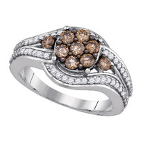 Black Diamond Fashion Ring in 10k White Gold 1 ctw