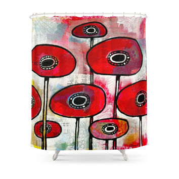 Society6 Poppies #4 Shower Curtain