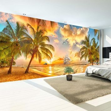 Large Custom Wall Mural Non-woven Wallpaper Beach Sunset Coconut Tree Nature Landscape Photo Backdrop Wallpapers For Living Room