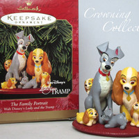 Disney Hallmark Lady and the Tramp The Family Portrait Ornament Keepsake Christmas Puppies Scamp Love