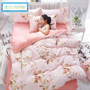 BEST.WENSD Comforter Wedding Gifts Jacquard flower bedclothes 3/4pcs Bedding set Cotton falt Bed sheets+duvet cover +pillowcase