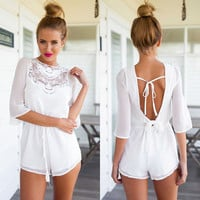 Backless White Lace Romper - BLue/White
