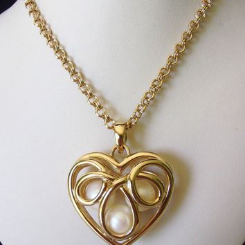 ERWIN PEARL Heart Pendant Necklace Faux Pearl Gold Plate Long Chain Designer Signed
