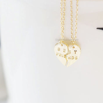 Gold Best Friends Heart Necklace Set ,best friend necklace, Split heart necklace, Friendship necklace, Everyday necklace