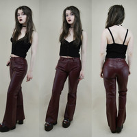 90s Grunge Goth Burgundy Red Leather Mid Rise Bootcut Flared 5 Pocket Jeans Trousers Pants XS