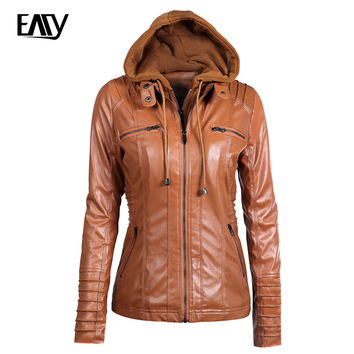 Detachable Hooded Faux Leather Bomber Jacket