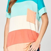 Colorful Color Block Pocket Tee