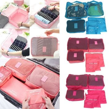 6pcs Travel Set Clothes Laundry Secret Storage Bag Packing Luggage Organizer Bag