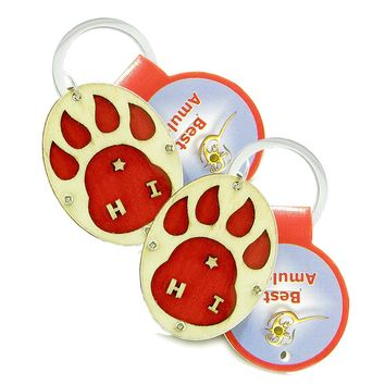 Wolf Paw Courage Protection Powers Love Couples Best Friends Set Wooden Keychain Amulet Blessings