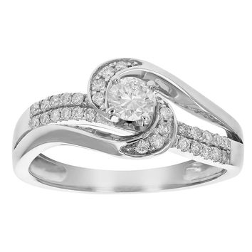 0.24 Carats 1/2 CT Diamond Engagement Ring 14K White Gold