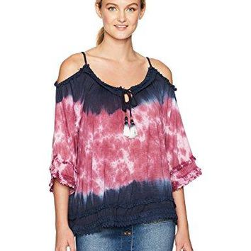 William Rast Womens Willliam RastDanae Fluttr Sleeve Cold Shoulder Knit Top