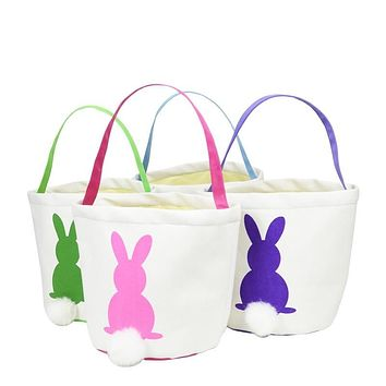 Canvas Easter Basket with Fluffy Bunny Tail