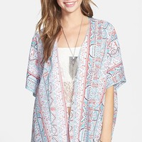 Band of Gypsies Floral Print Kimono Cardigan (Juniors)