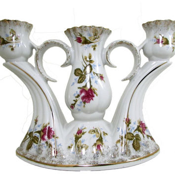 Chodziez Poland Iwona Majestic Rose Porcelain Three Light Candelabra Centerpiece Candlestick Holder