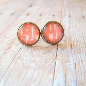 C O R A L - Coral Peach and White Arrow Geo Photo Glass Cab Circle Bronze Post Earrings