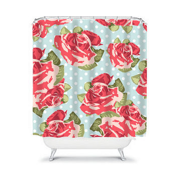ROSE Flower Shower Curtain Polka Dot Red Green Blue Preppy Floral Pattern Girl Bathroom Bath Polyester Made in the USA