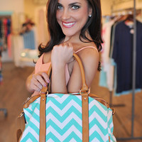 Mint Chevron Handbag
