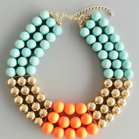 Teal Gold Neon Beads Necklace
