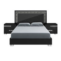 Lustro Queen Bed Black High Gloss