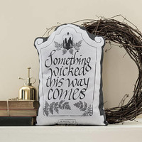 Something Wicked This Way Comes - Gravestone Pillow - Handmade Plush Throw Pillow - Horror Inspired Home Decor - Killin Me Softly - KMSxCo