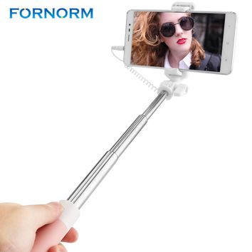 FORNORM Mini Wired Extendable Handheld Selfie Stick Monopod With Mirror For Iphone 6 6s Smart Phone