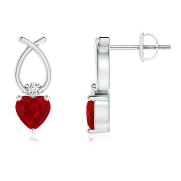 Solitaire Heart Ruby and Diamond Ribbon Cross Earrings