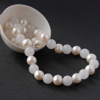 Chunky cream white pearl and jade necklace
