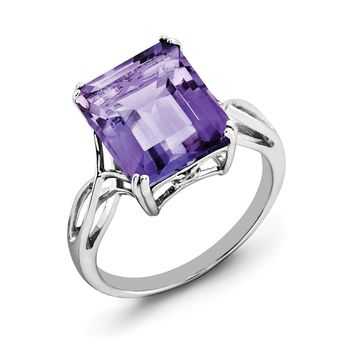 Octagonal Amethyst Ring in Sterling Silver