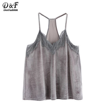 Dotfashion Woman Designers Tops Brand New Women Lace Shirt Sexy Top Grey Lace Trim Racer Back Velvet Cami Top Camisole