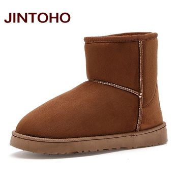 JINTOHO Unisex Winter Snow Boots Brand Ankle Rubber Boots Fashion Men Winter Shoes Cheap Men Winter Boots Australian Boots