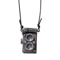 Dual Lens Camera Necklace - Unique Vintage - Cocktail, Pinup, Holiday & Prom Dresses.