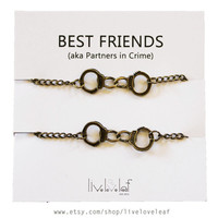 Antiqued Brass tone Handcuffs bracelets NEW - Partners in Crime, Best Friends BFF jewelry gift ideas, Mother Daughter Sisters bracelet set