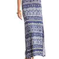 Tribal Print Double Slit Maxi Skirt by Charlotte Russe - Navy Combo