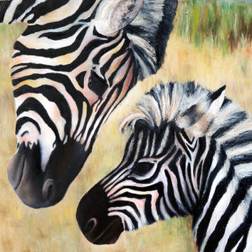 "Print of Original Oil Painting - ""Zebras"" - African Habitat - Love - Mother Child - Bond - Ying Yang"