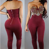 Red Sweetheart Metallic Embellished Jumpsuit