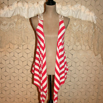 Hippie Boho Vest Lace Back Long Asymmetrical Red White Stripe Pirate Soft Grunge Boho Clothing Hippie Clothing Small Medium Womens Clothing