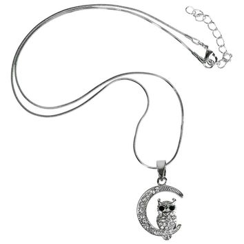 Evelots Silvertone and Clear Crystal Owl On The Moon Pendant Necklace, 18""