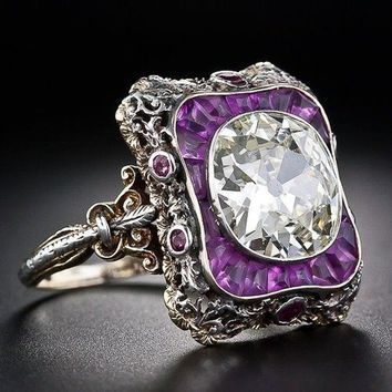 Antique Reproduction . 925 Sterling Silver Ring Princess Amethyst White Sapphire Ring