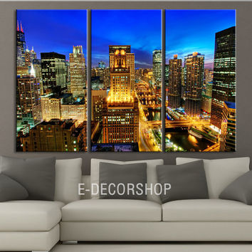 Canvas Print Chicago City Skyline at Night - 3 Panel (3 Piece) Chicago Canvas Art Print - Framed Crisp Prints