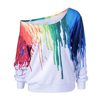 2017 New Punk Women Hoodies Sweatshirt Fashion O-neck long sleeve Outside Tracksuit pullover Oil Painting 3D Print Hoodies