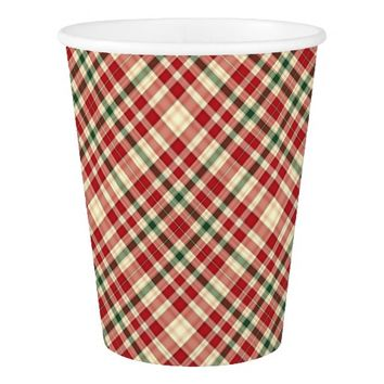 Christmas Plaid 18-PAPER CUPS