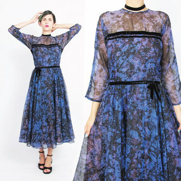 Vintage 1950s Party Dress Leslie Fay Original Sheer Chiffon Full Skirt Dress Black Splatter Abstract Print Gown Purple Cocktail Dress (M)