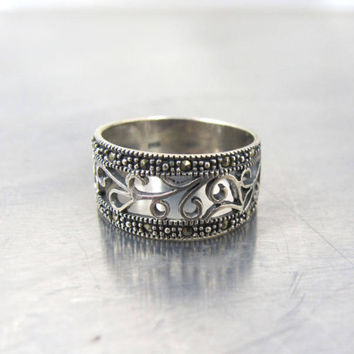 Sterling Marcasite Cigar Band Ring, Open Scrollwork Design, Unique Wedding Band, Size 7.50