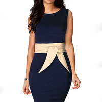 Navy Sleeveless Midi Dress with Champagne Belt