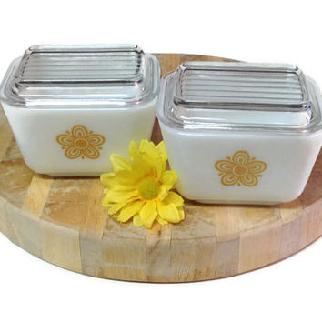 Pyrex Refrigerator Dish, Set of Two, Butterfly Gold Refrigerator Dish, Retro Kitchen Storage