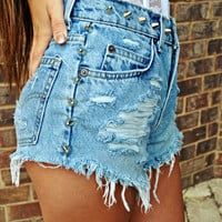 CUSTOM Made to Order VINTAGE Studded Denim Shorts 1990s/1980s Choose Size, Studs, Design