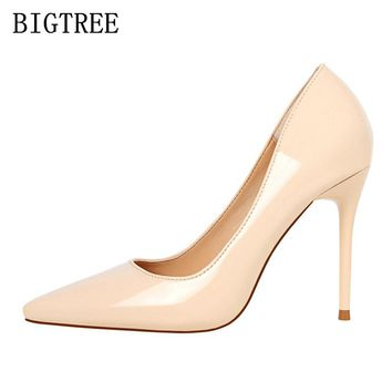 patent leather red extreme high heels bigtree shoes woman pumps women shoes high heel designer shoes women luxury 2018 escarpins
